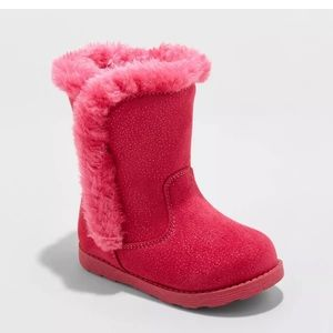 Toddler Katrina Fleece Boots–Fuchsia(Pink) Size 4